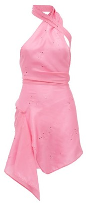 Ludovic de Saint Sernin Swan Halterneck Crystal-embellished Silk Dress - Pink
