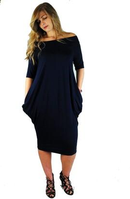 ONE LOOK CLOTHING Ladies Loose fit Off Shoulder Midi Dress 10-18 (Black)