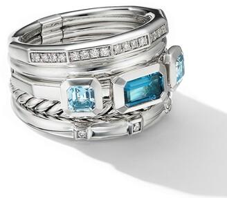 David Yurman Stax Wide Ring with Hampton Blue Topaz & Diamonds