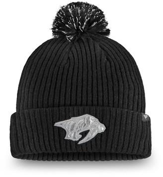 Women's Fanatics Branded Black Nashville Predators Lunar Cuffed Knit Hat With Pom