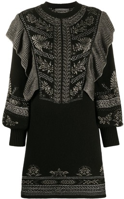 Alberta Ferretti Embroidered Ruffle Shift Dress