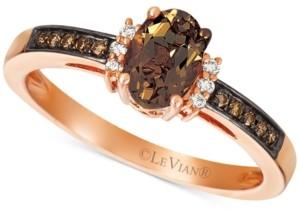 LeVian Le Vian Chocolate Quartz (1/2 ct. t.w.) & Diamond (1/10 ct. t.w.) Ring in 14k Rose Gold