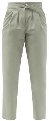 A.P.C. Sarah Belted Cotton-blend Gabardine Trousers - Green