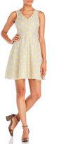 Yumi Polka Dot Fit & Flare Dress