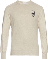 Alexander McQueen Skull-embroidered jersey-cotton sweatshirt