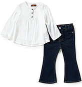 7 For All Mankind Baby Girls 12-24 Months Textured Woven Pintucked Top & Flare-Leg Denim Jeans