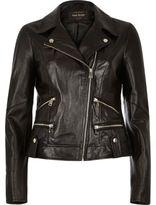 River Island Womens Black leather biker jacket