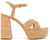 Gianvito Rossi Bebe 70 Crossover-strap Suede Platform Sandals - Womens - Beige