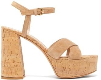 Gianvito Rossi Bebe 70 Crossover-strap Suede Platform Sandals - Beige