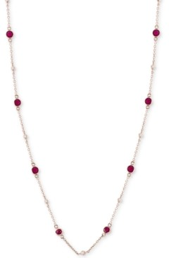 Effy Sapphire (1-3/8 ct. t.w.) & Diamond (1/8 ct. t.w.) Station Collar Necklace in 14k White Gold (Also Available in Ruby)