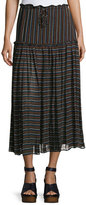 Apiece Apart Dulce Accordion Midi Skirt, Techno Stripe