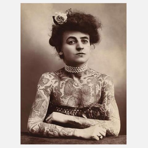 Curious Prints Tattooed Lady Vintage Print