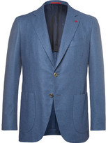 Isaia Blue Slim-fit Brushed Wool, Cotton And Cashmere-blend Blazer - Blue