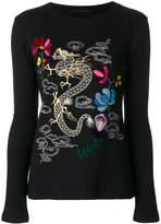 Ermanno Scervino embroidered dragon jumper