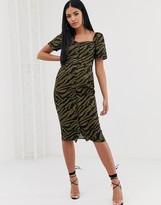 Asos Design DESIGN button through midi dress with sweetheart neckline in zebra print