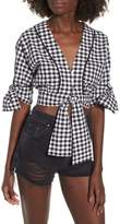 The Fifth Label Idyllic Gingham Tie Crop Top