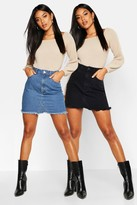 boohoo 2 Pack High Waist Denim Mini Skirt