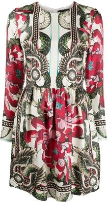 John Richmond floral snake-print long sleeved mini dress
