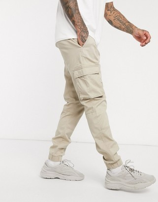 ONLY & SONS slim fit cargo with cuffed bottom in sand