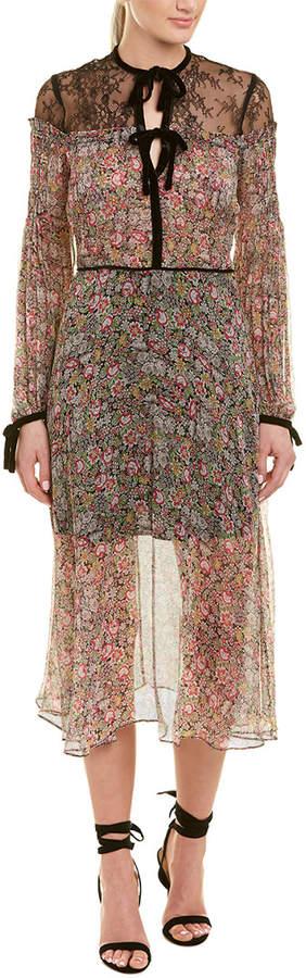 The Kooples Floral Silk Midi Dress