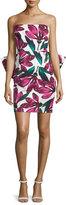 Milly Strapless Floral-Print Dress w/Oversized Bow, Fucshia