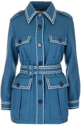 Fendi Belted Stitch Detail Coat