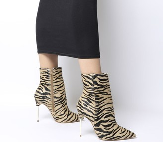 Office Aspire Metal Heel Point Boots Tiger Cow Hair