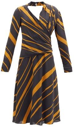 Proenza Schouler Surplice-neck Striped Crepe De Chine Midi Dress - Khaki Multi
