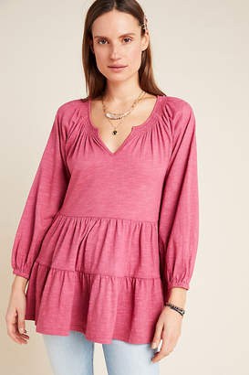 Maeve Isola Tiered Babydoll Top By in Pink Size XS