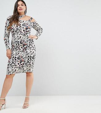 ASOS Midi Dress in Animal Print with Cut Away Neck