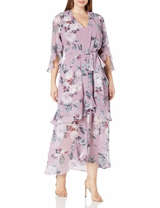 City Chic Women's Apparel Women's Plus Size Floaty Dress with Tiered Layers and Split Front Detail