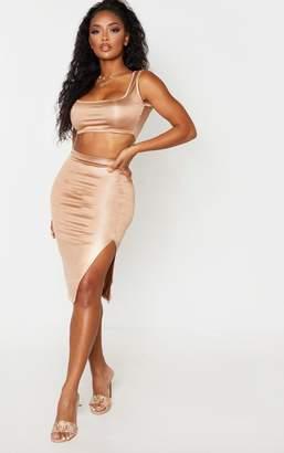 PrettyLittleThing Shape Taupe Metallic Slinky Slit Front Midi Skirt