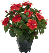 Asstd National Brand Nearly Natural Hibiscus With Black Hexagon Vase Silk Plant