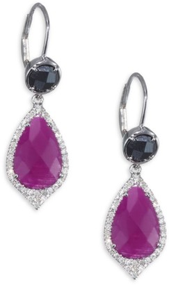 Meira T Diamonds Ruby & 14K White Gold Drop Earrings