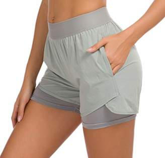 Custer's Night Women's Running Short Workout Athletic Jogging Shorts 2-in-1 S