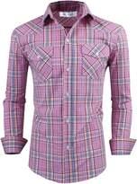 Tom's Ware Mens Classic Slim Fit Plaid Longsleeve Dress Shirt TWCS18-S