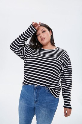 Forever 21 Plus Size Striped Drop-Sleeve Top