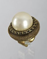 Lenora Dame cream Czech pearl cocktail ring