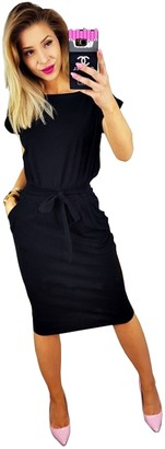 Longwu Women's Elegant Short Sleeve Wear to Work Casual Pencil Dress with Belt Black-3XL