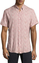 Billy Reid Murphy Tropical-Leaf Short-Sleeve Sport Shirt, Red/White