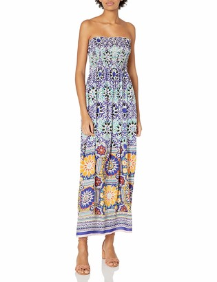 Angie Women's Blue Printed Smocked Bodice Maxi Dress