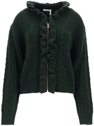 See by Chloe Ruffled Cable-Knit Cardigan