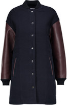 Alexander Wang Leather-trimmed wool-blend jacket