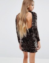 Motel Backless Sequin High Neck Bodycon Dress