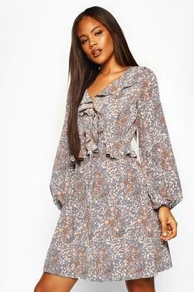 boohoo Tall Floral Print Ruffle Smock Dress