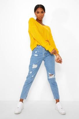 boohoo V Neck Crop Sweater