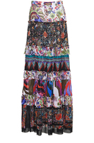 Roberto Cavalli Enchanted Garden Tiered Long Skirt