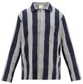 Marrakshi Life - Striped Cotton-canvas Shirt - Mens - Grey Navy