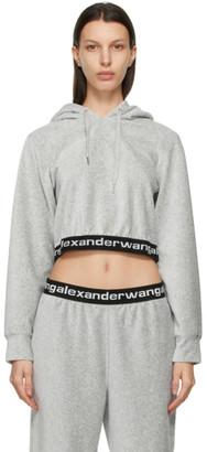 alexanderwang.t Grey Corduroy Cropped Hoodie