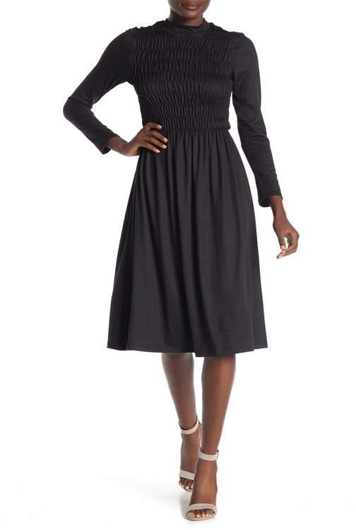 Velvet Torch Mock Neck Long Sleeve Smocked Midi Dress